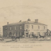 Image: A lithograph of a large, two-storey stone building of mid Victorian-era vintage. Several ship masts are visible behind the building. The title 'Railway Hotel, Port Adelaide' is printed at the bottom of the illustration