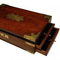 Image: wooden box with two open drawers