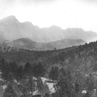 Image: Black and white photograph of sloped woodlands and hills in the background.