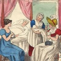 Taking Caudle, (baby, midwifery), Richard Dagley caricature, 1821.