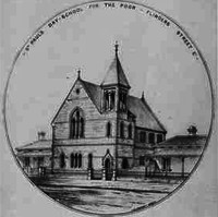 Image: a round bordered illustration of a church with a single spire on it's right hand side