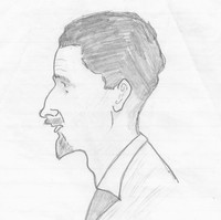 Image: pencil drawing of man's head in profile