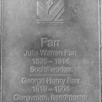 Jubilee 150 walkway plaque of George and Julia Farr