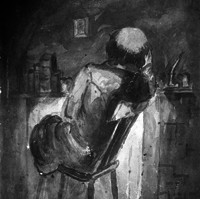 Image: Painting of the back of a man sitting on a chair at his desk. The man is balding. The painting is black and white.