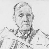 Image: Pencil sketch of the upper torso of an elderly man wearing a suit and academic robes